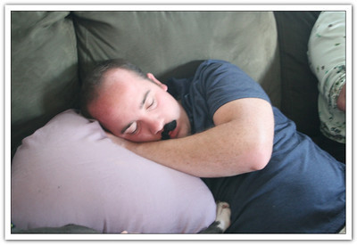 Don't fall asleep with fake mustaches around....and cameras!