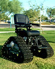 <i>TankChair - Extreme Off Road Wheelchair This isn't exactly an extreme sport as such, but it is an extreme piece of wheelchair engineering! Tank Chair is a Custom off-road wheelchair that can go anywhere outdoors.  Conquers Streams, Mud, Snow, Sand, and Gravel, allowing you to get back to nature, and can also climb up and down stairs. The seat is self levelling so people that are paralysed from the chest down are able to go up steep slopes, and down, with no fear of falling out and low enough to transfer with a board. I'm not sure it's very good as an indoor chair though, it would probably shred your carpets!</i>