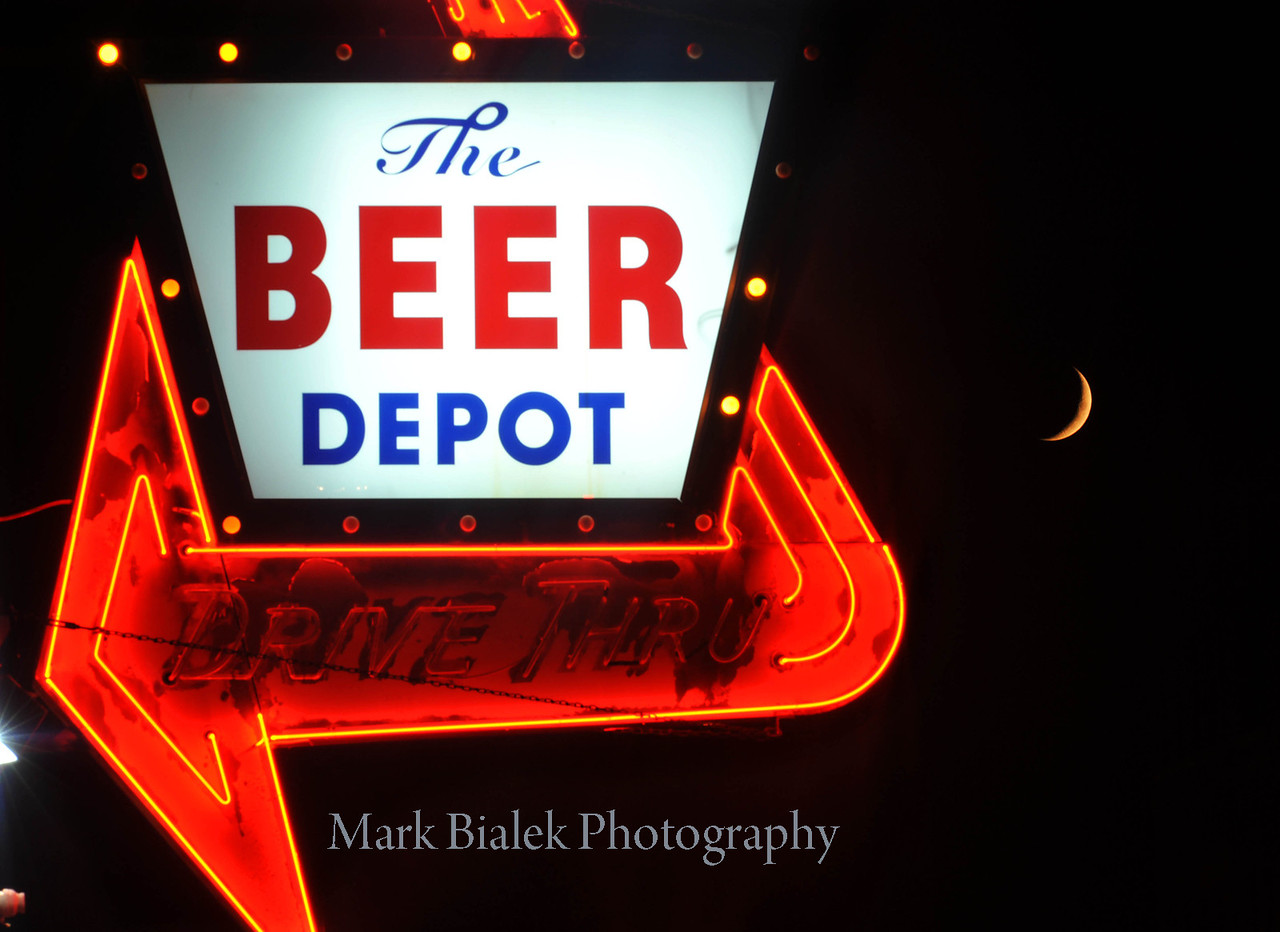Crescent moon behind Beer Depot.