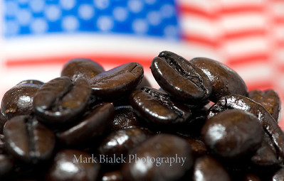 Dark roasted coffee beans.