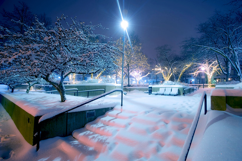 Liberty Plaza in downtown Ann Arbor is blanketed by a snowstorm in February of 2010. (Photo ©Mark Bialek)