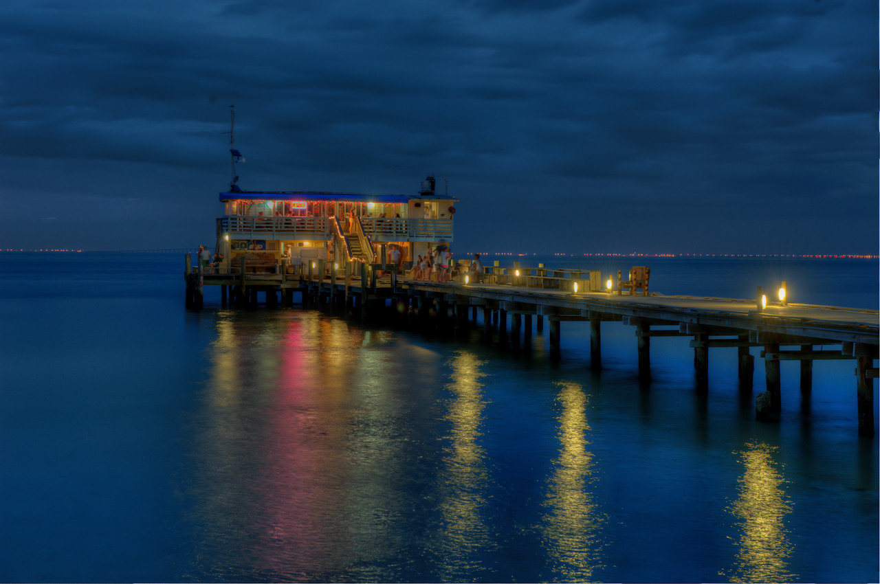 Rod and Reel Pier at Night