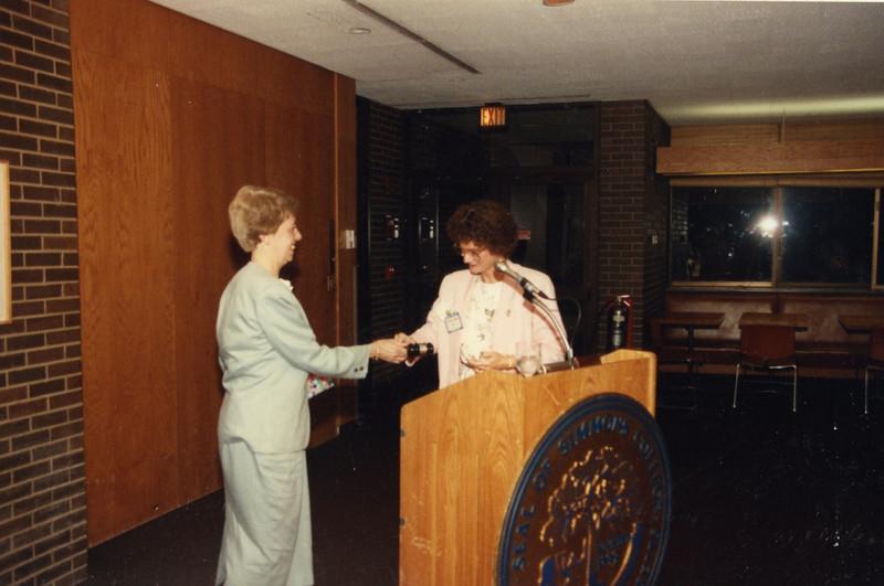 Passing the gavel: Ethel to Sarah Warner