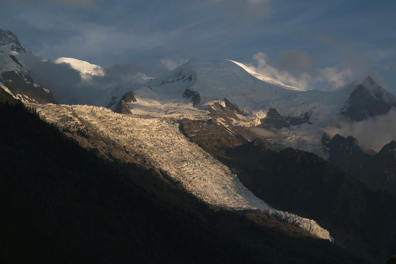 Morning in Chamonix, looking up at Mt. Blanc and the glaciers cascading down its flanks.