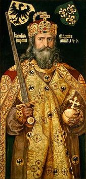 """Emperor Charlemagne (747-813 AD), my 41st & 42nd great grandfather (maternal).<br /> <br /> Charlemagne (German: Karl der Große; Latin: Carolus Magnus or Karolus Magnus, meaning Charles the Great; possibly 742 – 28 January 814) was King of the Franks from 768 and Emperor of the Romans (Imperator Romanorum) from 800 to his death in 814. He expanded the Frankish kingdom into an empire that incorporated much of Western and Central Europe. During his reign, he conquered Italy and was crowned Imperator Augustus by Pope Leo III on 25 December 800. His rule is also associated with the Carolingian Renaissance, a revival of art, religion, and culture through the medium of the Catholic Church. Through his foreign conquests and internal reforms, Charlemagne helped define both Western Europe and the European Middle Ages. He is numbered as Charles I in the regnal lists of Germany, the Holy Roman Empire, and France.<br /> <br /> The line is traced from John Throckmorton (b.1601, England; d.1687, Middletown, Monmouth, New Jersey, my 9th great grandfather (maternal), according to the book, """"Ancestral Roots of Certain American Colonists Who Came to America before 1700""""."""