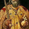 "Emperor Charlemagne (747-813 AD), my 41st & 42nd great grandfather (maternal).<br /> <br /> Charlemagne (German: Karl der Große; Latin: Carolus Magnus or Karolus Magnus, meaning Charles the Great; possibly 742 – 28 January 814) was King of the Franks from 768 and Emperor of the Romans (Imperator Romanorum) from 800 to his death in 814. He expanded the Frankish kingdom into an empire that incorporated much of Western and Central Europe. During his reign, he conquered Italy and was crowned Imperator Augustus by Pope Leo III on 25 December 800. His rule is also associated with the Carolingian Renaissance, a revival of art, religion, and culture through the medium of the Catholic Church. Through his foreign conquests and internal reforms, Charlemagne helped define both Western Europe and the European Middle Ages. He is numbered as Charles I in the regnal lists of Germany, the Holy Roman Empire, and France.<br /> <br /> The line is traced from John Throckmorton (b.1601, England; d.1687, Middletown, Monmouth, New Jersey, my 9th great grandfather (maternal), according to the book, ""Ancestral Roots of Certain American Colonists Who Came to America before 1700""."