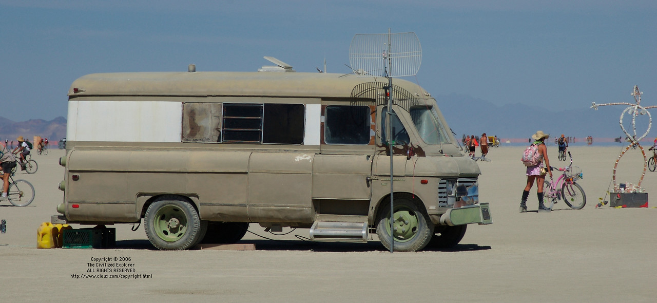 Our annual photo of this mystery truck on the playa with all the antennas.