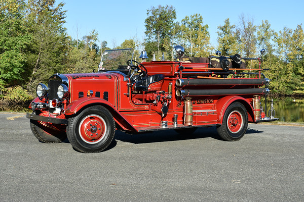 Lewiston, Maine Engine 3, a 1935 Maxim 750/300.  Privately owned and photographed at the ODHFS 2017 muster in Farmville, VA.