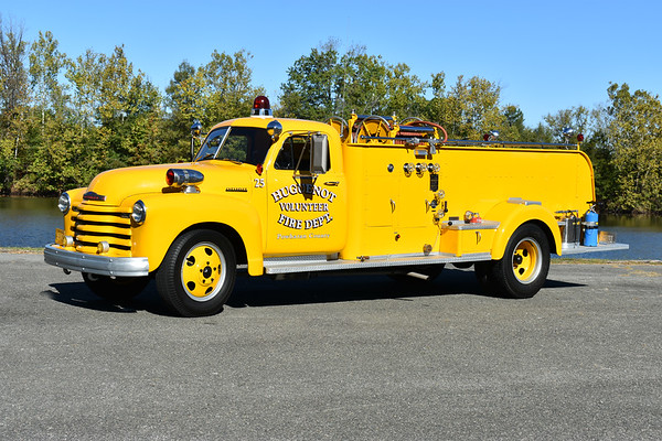 Privately owned and photographed at the ODHFS 2017 muster in Farmville, VA.  Huguenot VFD in Powhatan County - a 1952 Chevrolet /John Bean/2011 local 80/700 which ran as Unit 25.  This was originally delivered to Chesterfield County, VA Chester station.  Huguenot received it in 1970 and ran it until 1983.  It was then sold to a construction company, finally being sold in 2008 to a collector.