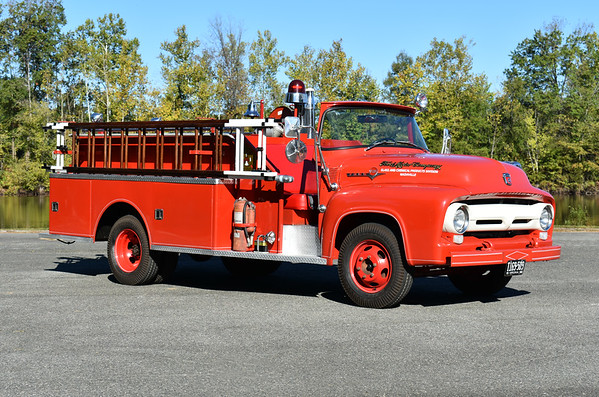 Nashville, TN Ford Plant - Ford Chemical and Glass Division operated by Ford Chemical and Glass Plant in Nashville.  1956 Ford F350/Firemaster out of Mt. Clemens, Michigan.  It was a light rescue and foam carrier body, one of two made by Firemaster for Ford.  In service from 1956-the late 1980's and sold to a private individual.  In 2012, it was sold to a collector in Virginia and was restored from 2013-2015.  Photographed at the ODHFS 2017 muster in Farmville, VA.