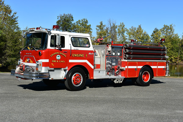 C1786olonia Heights, Virginia ex Engine 1 and privately owned.  A 1975 Mack CF685F10 1000/500 and serial number 1786.  This Mack CF was originally delivered to Chesterfield County painted yellow and then sold to Colonial Heights.  Photographed in September of 2017 at the ODHFS Farmville muster.