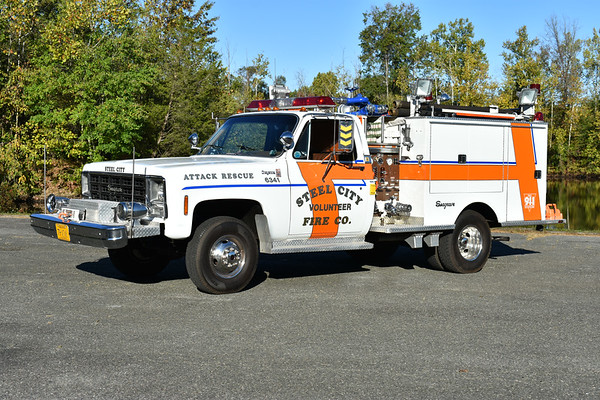 Steel City, Pennsylvania Attack Rescue 6341 - a 1979 Chevrolet Cheyenne 30/Seagrave 400/250 with s/n J-77051.  Privately owned.  Photographed at the ODHFS 2017 muster in Farmville, VA.