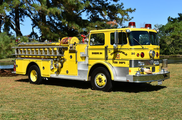 """Privately owned and photographed in September of 2017 at the ODHFS Farmville, Virginia muster is Chesterfield County, Virginia Engine 24.  It is a 1970 Duplex/Oren """"Guardian"""" 1500/500 with serial number 2746.    This was one of two 1970 Duplex/Oren's delivered to Chesterfield County.  Engine 24 has a Detroit 8V-71 with an Allison automatic transmission.  The second Oren, Unit 34 from Bensley, had a Cummins engine and a 5 speed transmission, also a 1500/500.  These were the first yellow engines in Chesterfield County.  After service at Chesterfield County, this Oren was sold to E.L. Dupont Co. for their Martinsville, Virginia plant.  Dupont donated the Oren in 1998 after their Martinsville plant closed - donated to the Henry VFD in Franklin County, Virginia.  It was sold to a collector in 2009."""