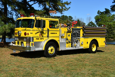 "Privately owned and photographed in September of 2017 at the ODHFS Farmville, Virginia muster is Chesterfield County, Virginia Engine 24.  It is a 1970 Duplex/Oren ""Guardian"" 1500/500 with serial number 2746.    This was one of two 1970 Duplex/Oren's delivered to Chesterfield County.  Engine 24 has a Detroit 8V-71 with an Allison automatic transmission.  The second Oren, Unit 34 from Bensley, had a Cummins engine and a 5 speed transmission, also a 1500/500.  These were the first yellow engines in Chesterfield County.  After service at Chesterfield County, this Oren was sold to E.L. Dupont Co. for their Martinsville, Virginia plant.  Dupont donated the Oren in 1998 after their Martinsville plant closed - donated to the Henry VFD in Franklin County, Virginia.  It was sold to a collector in 2009."