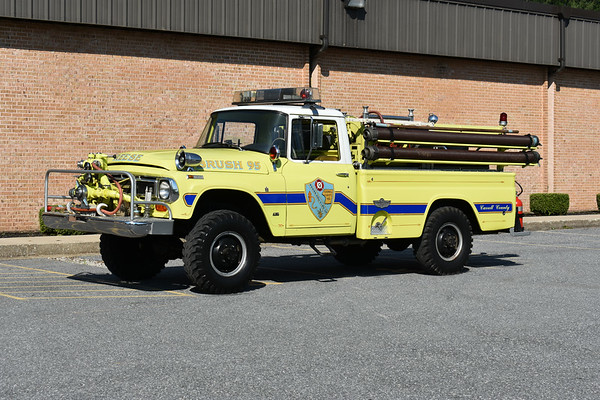 2021 Chesapeake Antique Fire Apparatus Association (CFAA) June muster at the Pleasant Valley VFC in Carroll County, Maryland.  Reese, Maryland Brush 95 1968 International 1300/American 500/200 s/n 42231