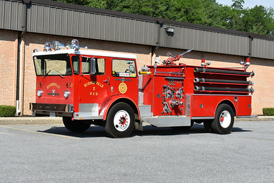 2021 Chesapeake Antique Fire Apparatus Association (CFAA) June muster at the Pleasant Valley VFC in Carroll County, Maryland.  Bishopville, Maryland E-902 1972 ALF Pioneer  750/1000 sn PD-1-2935