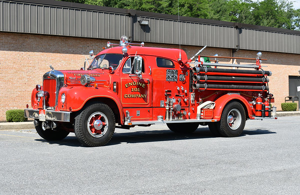 2021 Chesapeake Antique Fire Apparatus Association (CFAA) June muster at the Pleasant Valley VFC in Carroll County, Maryland.  Baltimore County, Maryland Engine 101 1958 Mack B85F1296 750/350 ex Engine 10 from 1957 through 1964 ex- Engine 101 from 1964 through 1974 ex- RE 67 from 1974 through 1987 sold 1987