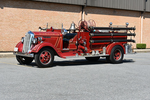 2021 Chesapeake Antique Fire Apparatus Association (CFAA) June muster at the Pleasant Valley VFC in Carroll County, Maryland.  Boring, Maryland 1936 Dodge/Boyer 500/200 sn 8745