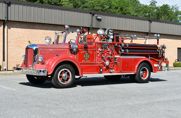 2021 Chesapeake Antique Fire Apparatus Association (CFAA) June muster at the Pleasant Valley VFC in Carroll County, Maryland.  Madison, New Jersey 1953 Mack L85LS1676 750/300