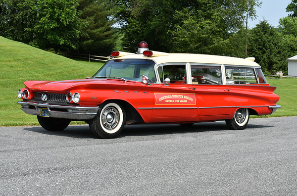 """Privately owned is this 1960 Buick/Flxible Premiere model FB63-60 and marked for the """"Central Rescue Squad Newark, New Jersey"""".  This ambulance was actually in service for the Allegheny Ludlum Steel Corp, a steel mill in West Leechbury and Bagdad, Pennsylvania.  The Newark markings are because this ambulance was used in the making of the movie """"The Many Saints of Newark"""", a prequel to the TV series """"The Sopranos"""".  After filming, the Newark markings will be removed.  Photographed at the June 2019 Chesapeake Antique Fire Apparatus Association spring muster in Pleasant Valley, Maryland."""