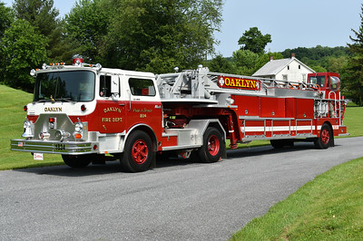 Oaklyn, New Jersey Ladder 1843 - a 1974 Mack CF685FAT15864/Maxim/1993 Lee's Emergency Equipment 100' tiller.     Originally delivered to Allentown, PA where it ran as Ladder 3.  Privately owned.  Photographed at the June 2019 Chesapeake Antique Fire Apparatus Association spring muster in Pleasant Valley, Maryland.