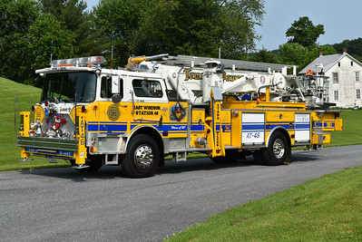 East Windsor, New Jersey Aerial Tower 46 - a 1979 Mack CF686FAP/Baker that was rehabbed in 1997 by JC Moore.  75' Aerialscope with Mack serial number 1307 and privately owned.  Photographed at the June 2019 Chesapeake Antique Fire Apparatus Association spring muster in Pleasant Valley, Maryland.