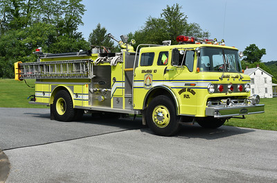 Mount Gilead, Ohio's Engine 10, a 1981 Ford C/EOne 1000/750 with serial number 2053.  Privately owned.  Photographed at the June 2019 Chesapeake Antique Fire Apparatus Association spring muster in Pleasant Valley, Maryland.