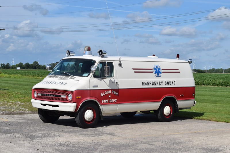 Bloom Township, Ohio.  Ambulance 4 is a 1972 Dodge Fargo DeSoto/Braun.  This is the first ambulance built by Braun, acquired by the company several years ago and still maintained.  Photographed in 8/19 at the Braun factory.