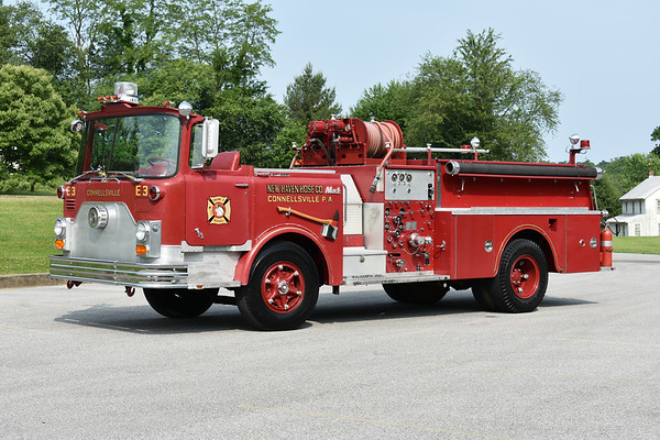Connellsville, PA is a 1972 Mack CF608F10 with a 1000/500 and serial number 1170.  Privately owned.  Photographed at the June 2019 Chesapeake Antique Fire Apparatus Association spring muster in Pleasant Valley, Maryland.