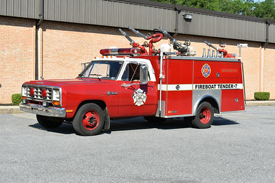 """2021 Chesapeake Antique Fire Apparatus Association (CFAA) June muster at the Pleasant Valley VFC in Carroll County, Maryland.  """"Derstine Fire Department"""" Fireboat Tender 7 1984 Dodge Ram 350/Swab sn LDR94386484 ex- Lemoyne, PA Air Unit"""