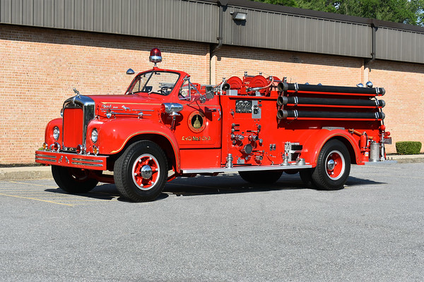 2021 Chesapeake Antique Fire Apparatus Association (CFAA) June muster at the Pleasant Valley VFC in Carroll County, Maryland.  National Label Company LaFayette Hill, PA 1954 Mack B85F1023 refurb in 1988 750/500 ex- Lincoln Fire Company, PA ex- Cedar Heights, PA