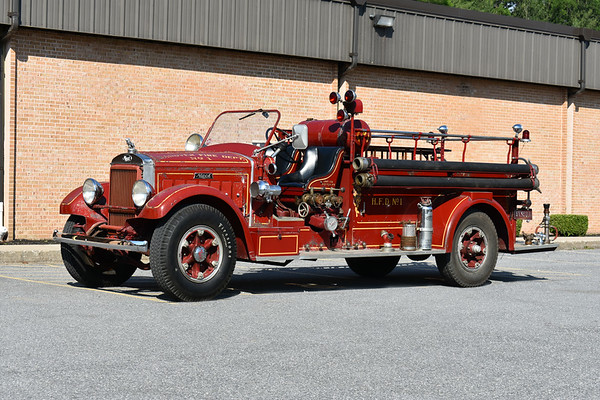 """2021 Chesapeake Antique Fire Apparatus Association (CFAA) June muster at the Pleasant Valley VFC in Carroll County, Maryland.  Hanover, PA Unit 133 1935 Mack BX75 750/200 sn 6BX6S1023 """"Unit 133 Base KGD 218"""""""