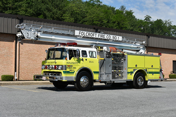 2021 Chesapeake Antique Fire Apparatus Association (CFAA) June muster at the Pleasant Valley VFC in Carroll County, Maryland.  Folcroft, PA 1984 Ford C8000/E-One 1250/400 55' Stratospear sn 3735