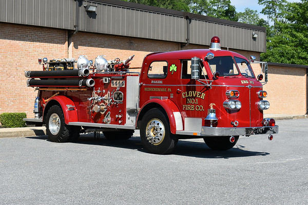 2021 Chesapeake Antique Fire Apparatus Association (CFAA) June muster at the Pleasant Valley VFC in Carroll County, Maryland.  Heckscherville, PA Engine 263 1955 ALF 700 1000/300 s/n 9405 ex- Minersville, PA Goodwill Fire Co.