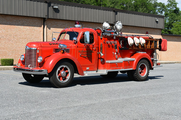 2021 Chesapeake Antique Fire Apparatus Association (CFAA) June muster at the Pleasant Valley VFC in Carroll County, Maryland.  Pleasant Hill, PA 1947 International KBS-6/John Bean HP 60/400