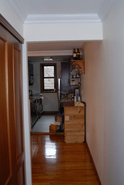 As you first walk in from the door there is an 8' closet to the left.