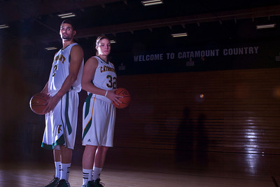 Luke Apfeld and Lauren Buschmann pose together as they star for University of Vermont men's and women's basketball teams and have both overcome serious knee injuries.