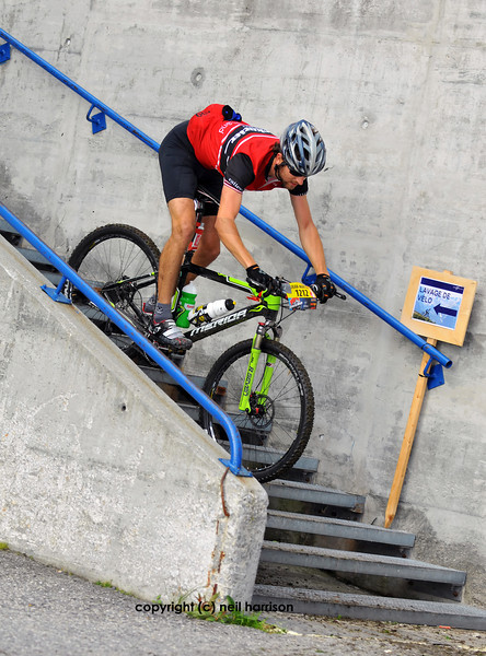 Nendaz, August<br /> Jean-Martin Poncet descends the steps in the Grand Raid mountain bike race: