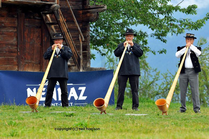 NENDAZ,  A trio of players at the 9th International Festival of Alpine horns <br /> Festival Cors des alpes