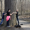 Hikers at Mounds Park showing the size of one of the old growth trees along White River.<br /> <br /> Photographer's Name: Jerry Byard<br /> Photographer's City and State: Anderson, Ind.