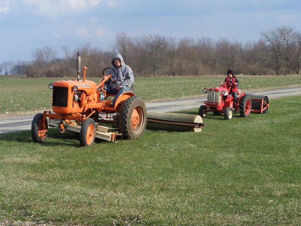 Ron McCord and grandson Tracey rolling the yard.<br /> <br /> Photographer's Name: Ronald McCord<br /> Photographer's City and State: Frankton, Ind.