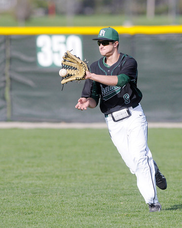 Don Knight | The Herald Bulletin<br /> Pendleton Heights' Austin Ellingwood fields a hit in right field as the Arabians hosted Alexandria during the Nick Muller Tournament on Thursday.