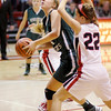 Pendleton Heights' Kenzie Gustin drives to the basket as she is guarded by Frankton's Katie Key as the Eagles hosted the Arabians on Saturday.