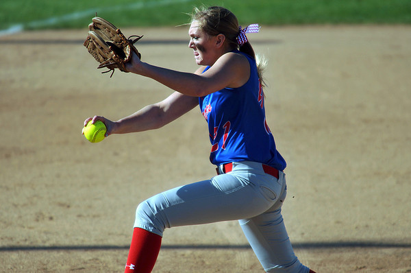 Mackenzie Bryan pitches for Elwood. Bryan limited the Arabians to a pair of singles through the first five innings. Pendleton Heights High School defeated Elwood High School 5 to 1 to win the county softball tournament Saturday, April 19 at Pendleton. For THB / Richard Sitler
