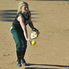 Pendleton Heights' Morgan Hubble tosses the ball to first for the out. Pendleton Heights High School defeated Elwood High School 5 to 1 to win the county softball tournament Saturday, April 19 at Pendleton. For THB / Richard Sitler