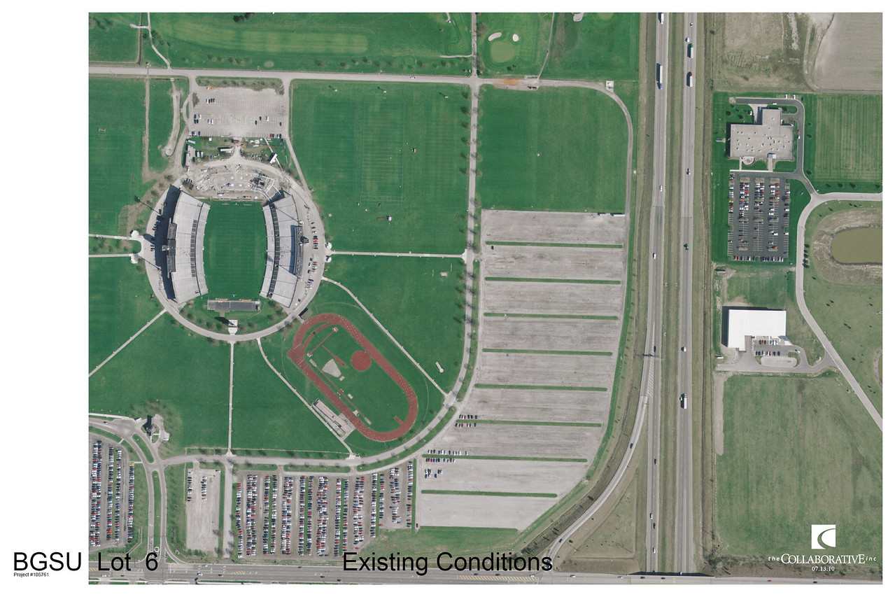 This aerial photo show the proposed site's existing condition as well as it's location next to our football stadium and Interstate 75