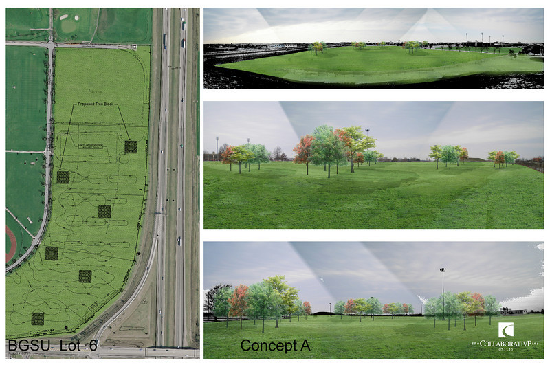 """This rendering shows how the area will look when it is completed along with our idea for """"pods"""" of trees throughout the site."""