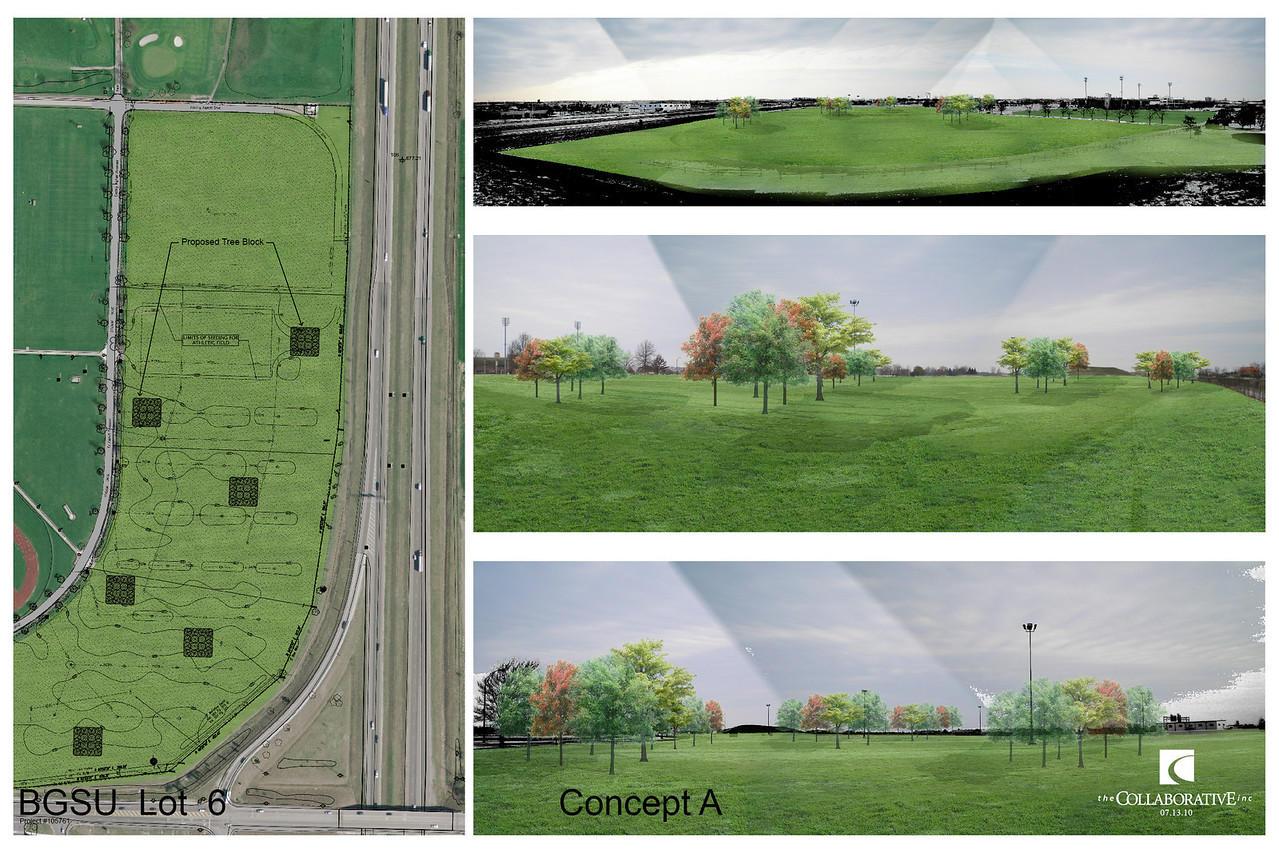"This rendering shows how the area will look when it is completed along with our idea for ""pods"" of trees throughout the site."