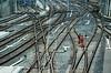 Geleisearbeiter auf Eisenbahnstrecke