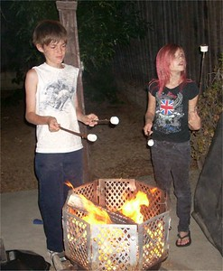 really early days in Camp Cole (they had never roasted mushmellows!